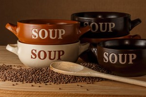 soup bowls and dried lentils