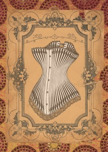 vintage drawing of a corset