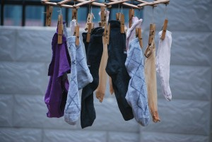 socks pinned to a clothes line