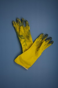dirty yellow gloves